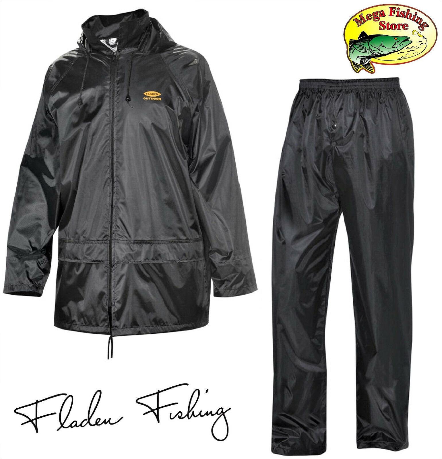 FLADEN Regenanzug Jacke + Hose - Angel Regen Anzug 2-Teiler - Outdoor & Angeln
