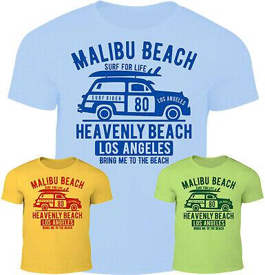 Malibu Beach Herren T-Shirt Strand Surf Life Bar Street Fashion Urlaub Car Reise