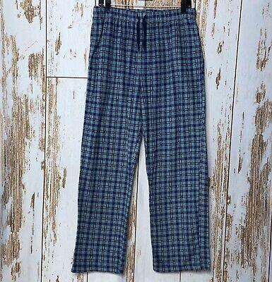 Nautica Sleepwear Mens Size M Pajamas Plush Lounge Blue Plaid Pants Pockets