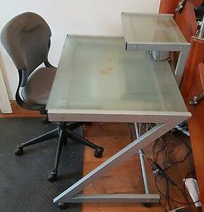 Z shaped glass computer table Caringbah Sutherland Area Preview