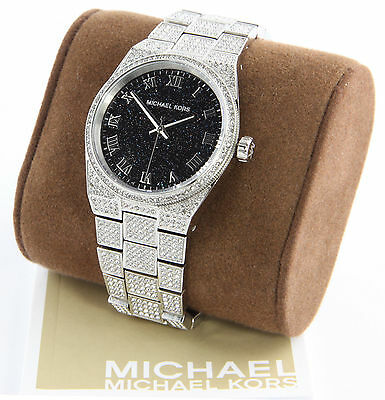 MICHAEL KORS MK6089 Channing Black Crystal Pave Stainless Steel Watch Free Shipp