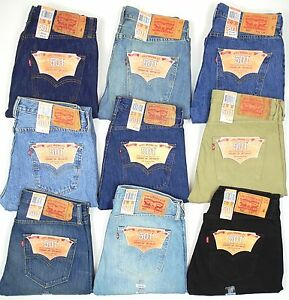 Levis-501-Button-Fly-Mens-Jeans-Original-Dark-Blue-Black-Tan-Many-Sizes-NEW