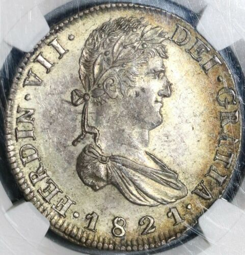 1821-Zs NGC AU 58 War Independence Mexico 8 Reales Silver Coin (20062103C)