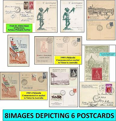 6 ITALIA FILATELIA Commemorative Postcards to Victor in Australia during 1950's.