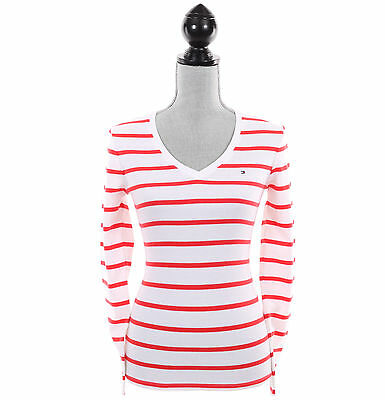 Tommy Hilfiger Women Long Sleeve V-Neck Stripe Knit Top Tee - Free $0 Ship ()