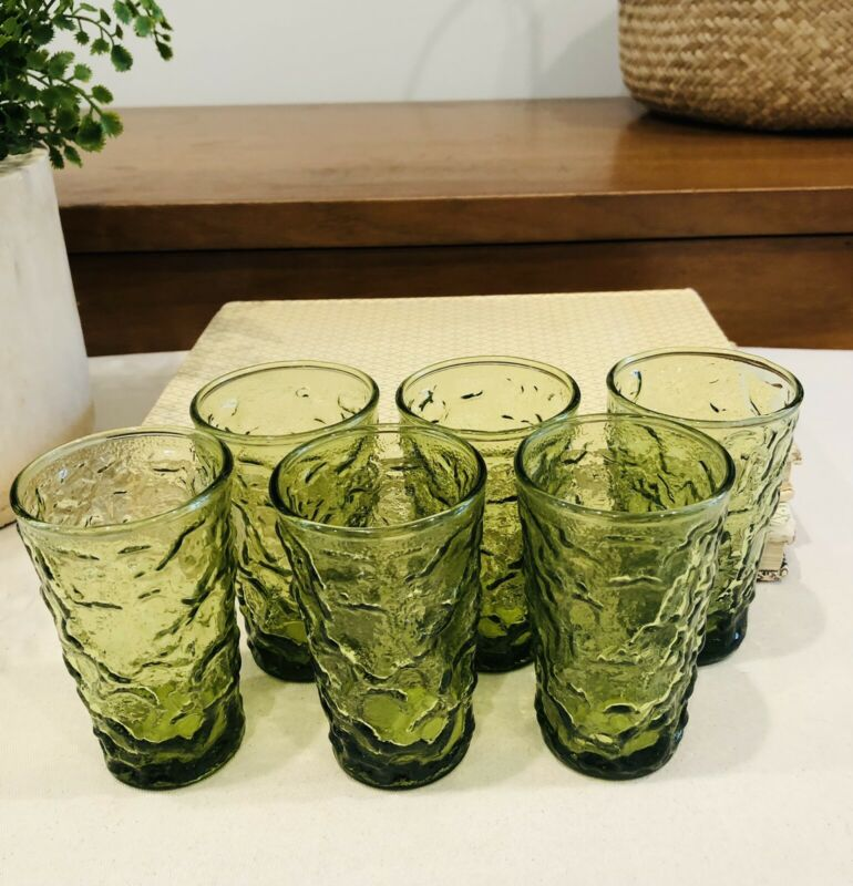 "Vtg Anchor Hocking 6 Green Lido Milano Crinkle Drinking JUICE Glasses 4"""