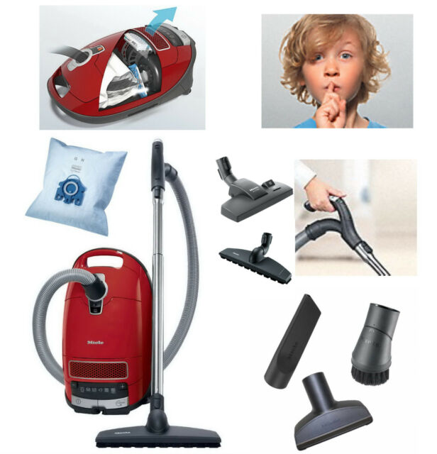 miele complete c3 powerline comfort parquet canister vacuum cleaner red new