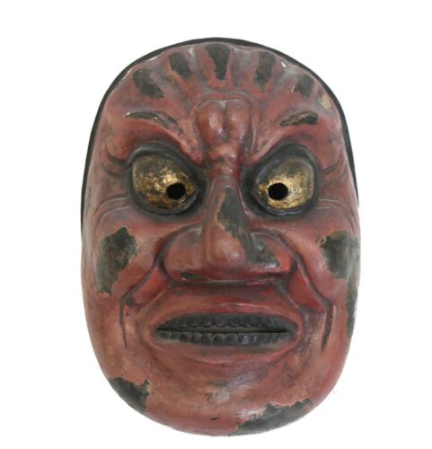 Large Japanese Shikami Oni Noh Mask, Red, black and gold pigments gesso on wood