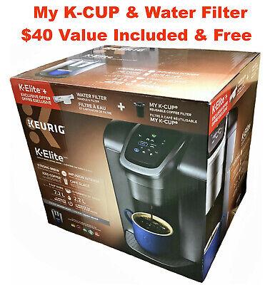 Keurig K-Elite Coffee Maker Brushed Pearly Bundle with Water Filter & My K-Cup