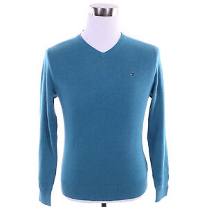 NEW TOMMY HILFIGER MENS PACIFIC V-NECK SWEATER BLUE M L