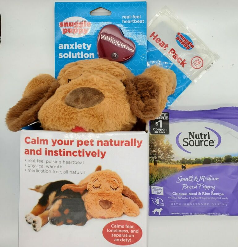 Snuggle Puppies Ease Pup Separation Anxiety Warmth and Sound NEW & Food Sample