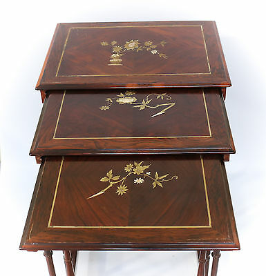 3pc Set French c1900 Mother of Pearl inlay hand painted Stacking Nesting Tables