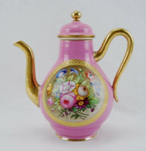 Antique Victorian Old Paris COFFEE POT Hand Painted Pompadour Pink & Gold