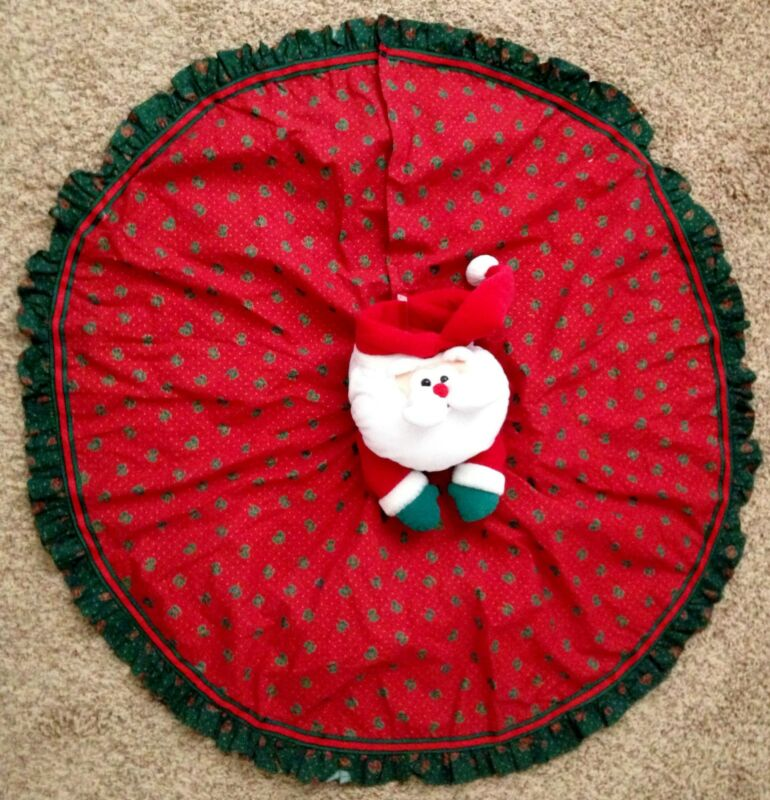 """Red Cotton Blend 36"""" SANTA Christmas Tree Skirt with Gathered Edge"""