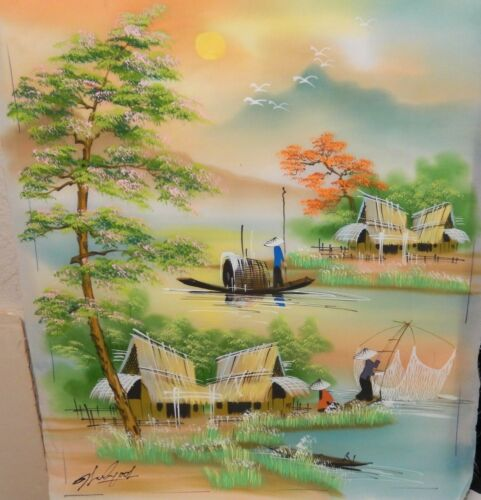 CHINESE ORIGINAL WATERCOLOR ON SILK VILLAGE RIVER FISHING PAINTING SIGNED