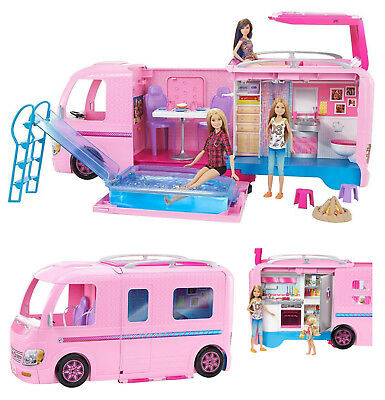 Brand New Mattel Barbie Dream Camper Pink RV Bus Home Van Motor Car Truck Set