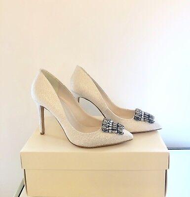 Jenny Packham Ivory Bridal Shoes Size 6 / 39 Glittery Silver Wedding Court Heels