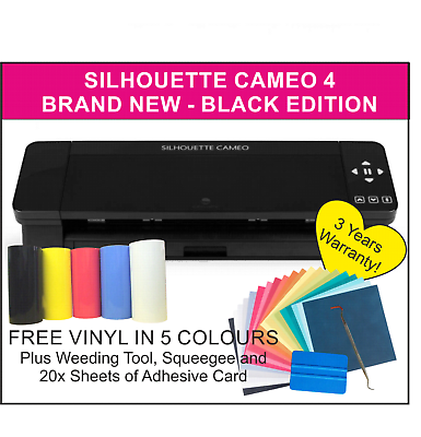 Silhouette Cameo 4 Black Edition, UK Supplier 3 Year Warranty. FREE VINYL & CARD