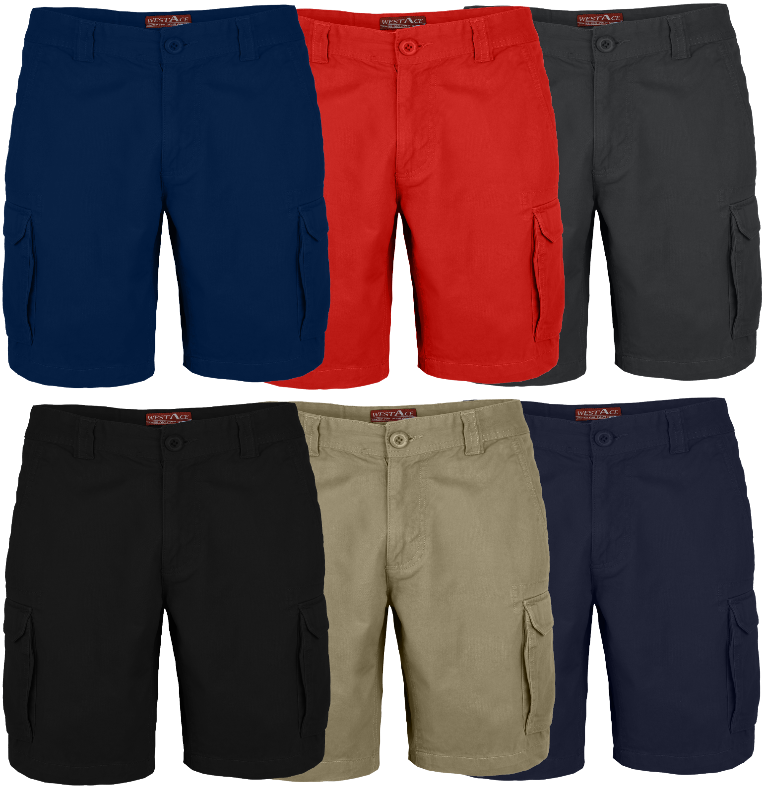 Men's Cargo Shorts 6 Pocket Combat Flat Front Chino Half Pants Waist Size 32-44 Clothing, Shoes & Accessories