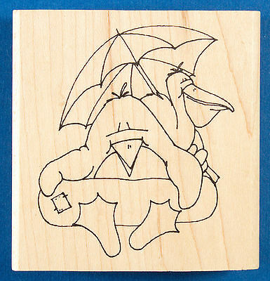 Penguin and Pelican Inner Tube Pals Rubber Stamp by Inky Antics - River Tubing ()