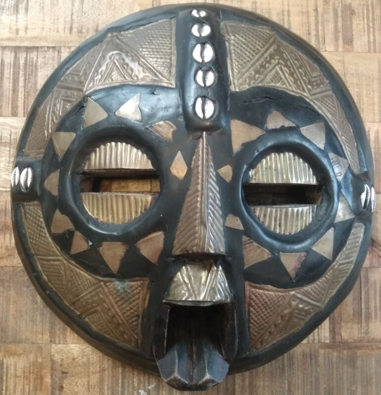 West African Tribal Mask/Metal Inlays/Shells/Hand-Carved Wooden Art/Africa