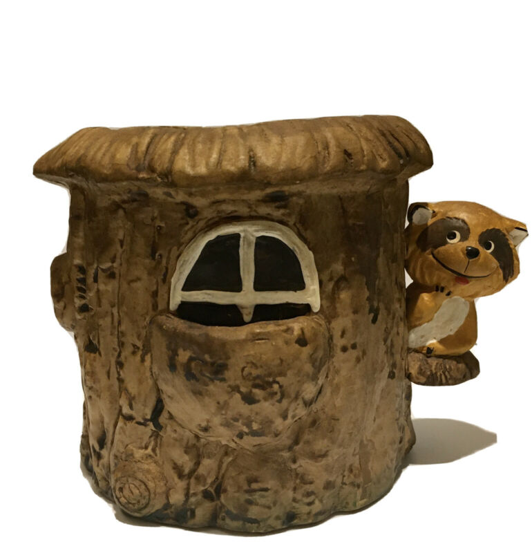 1976 Vintage Enesco Ceramic Raccoon Tree Stump House Flower Pot Planter