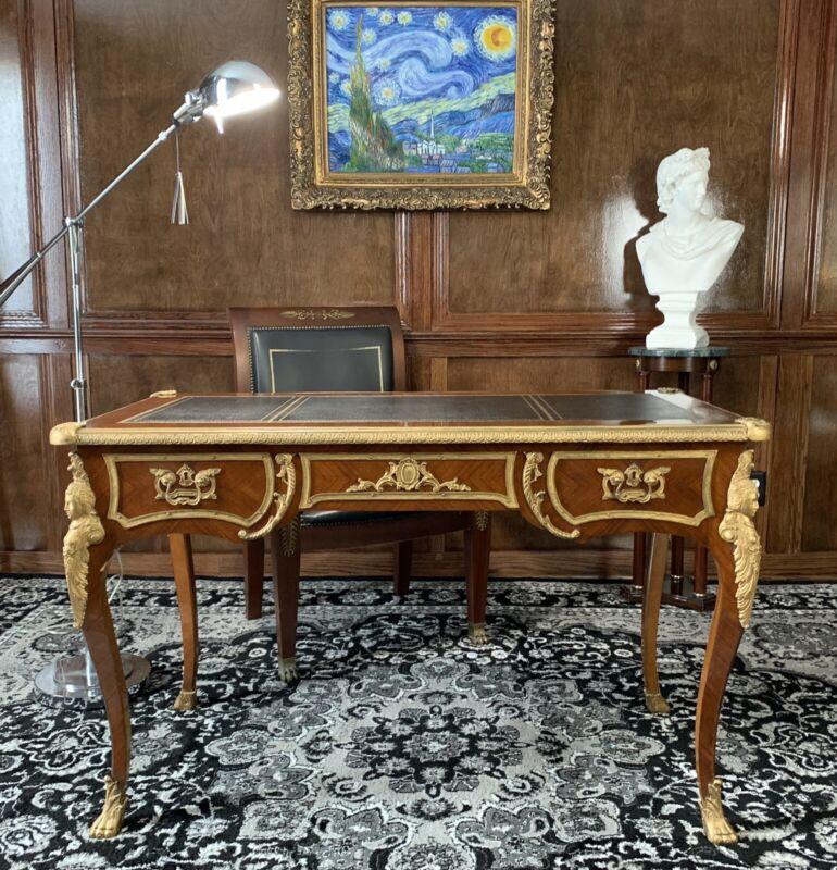 French Louis XV Lacquer Bronze Figural Ormolu Bureau Plat Writing Desk