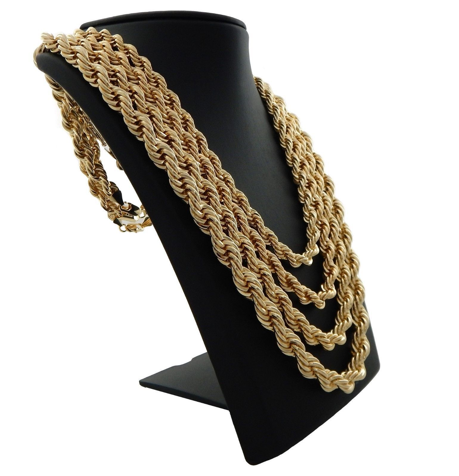Mens Rope Chain Necklace 14k Brazilian  Gold Plated 3mm to 5mm 24″with gift box Fashion Jewelry