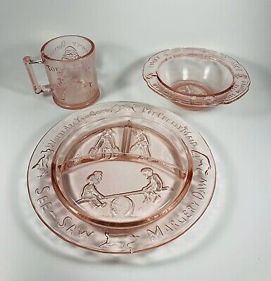 VINTAGE TIARA GLASS CHILDREN'S DISH SET PINK PLATE BOWL MUG NURSERY RHYME