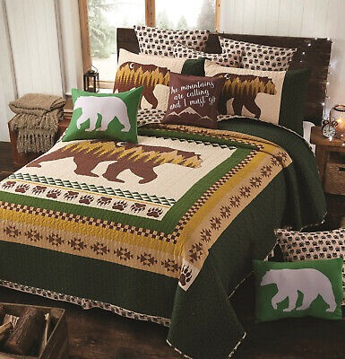 MOON BEAR GREEN 3p King QUILT SET : MOUNTAIN BROWN PAW LODGE CABIN COUNTRY