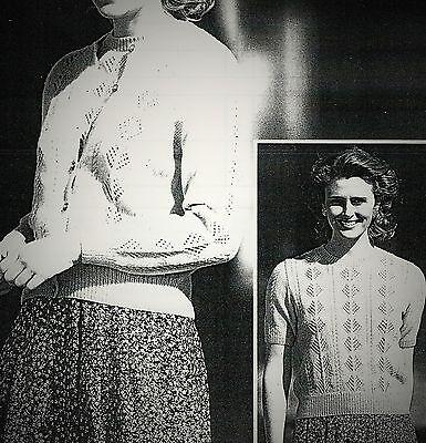 "#201 Ladies Lacy Twin set Cardigan  Top 32-42"" 81-107c Vintage Knitting Pattern"
