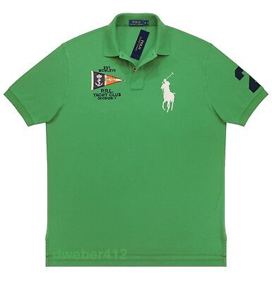 Mens Ralph Lauren BIG & TALL BIG PONY Nautical Yacht Club Green Rugby Polo Shirt Big And Tall Rugby