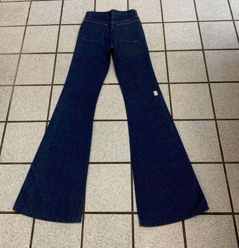 Vintage Boys Bell Bottom Jeans Disco Hippie Western Flare 1970s NEW 26 X 35