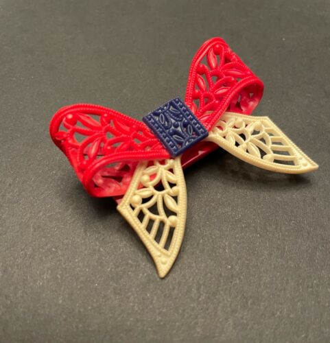 PATRIOTIC Early Celluloid Brooch Red White Blue Bow 1940's Plastic Carved Pin