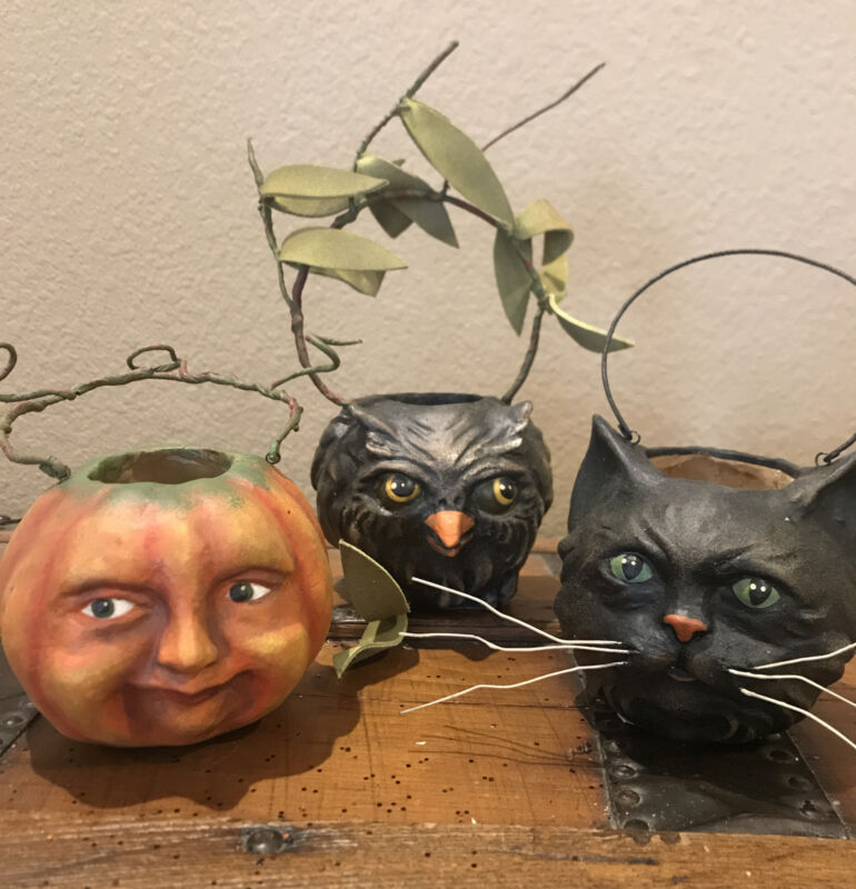 Bethany Lowe Vergie Lightfoot Halloween Ghoulish Buckets—Set of 3—Retired 2017