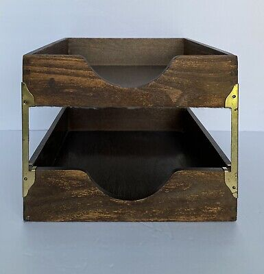Vintage Hedberg Co Wood Letter Trays Desk Home Office Organize Boxes 12 X 10