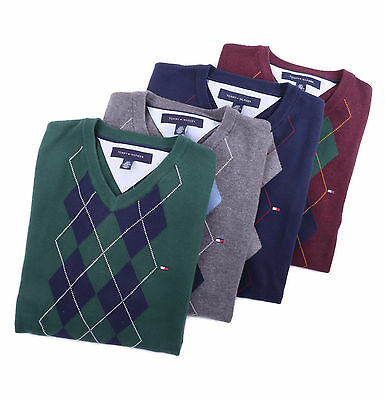 Mens Classic V-neck Sweater - Tommy Hilfiger Men Classic V-Neck Argyle Golf Style Long Sleeve Sweater -$0 Ship