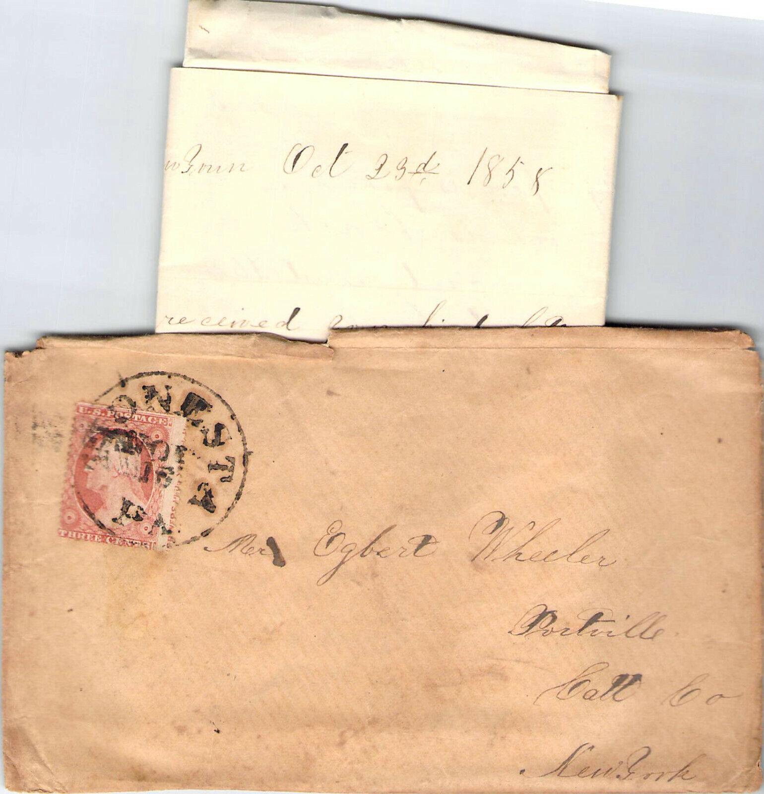 1858 CORRESPONDENCE TIONESTA PA CRAZY COOL CANCEL POSTAL HISTORY