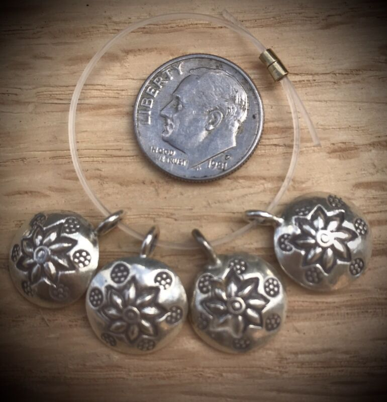 4 Hill Tribe Silver Concave Daisy Charms