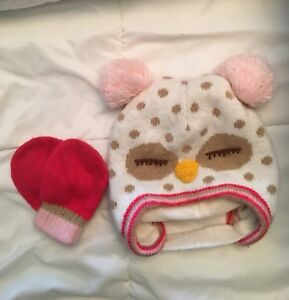 Hat and mittens for 12-24 month old girl