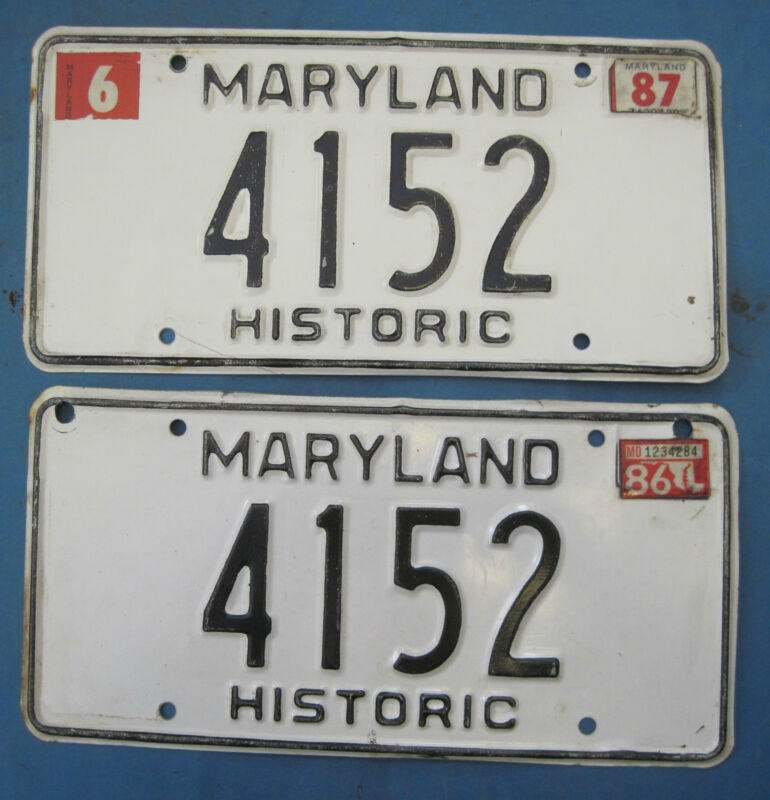 1986/87 Maryland Historic License Plates Matched Pair