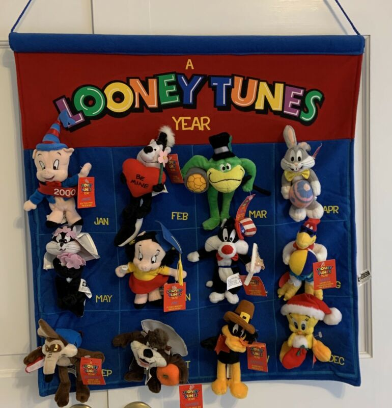 NWT Vintage 1999 Looney Tunes Plush Bean Bag Characters, 12 With Calendar