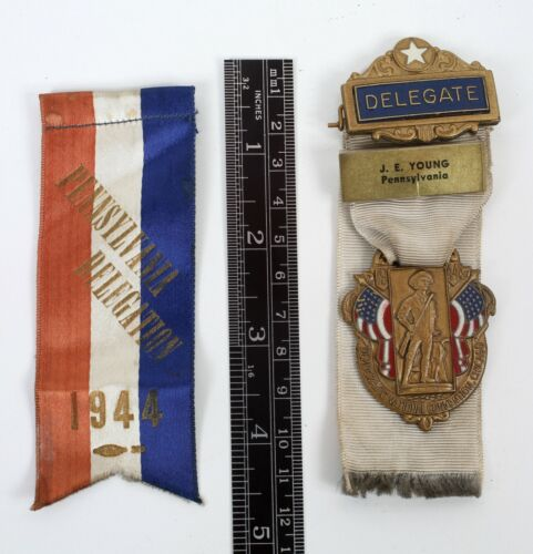1944 Chicago Democratic National Convention Pennsylvania Delegate Ribbons Medal