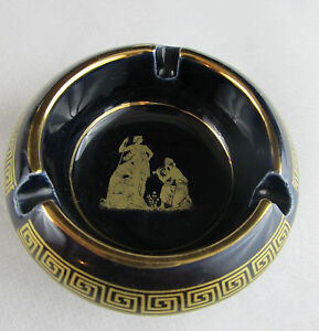 ANTIQUE STYLE FROM GREECE ASHTRAY NAVY & 24 K GOLD