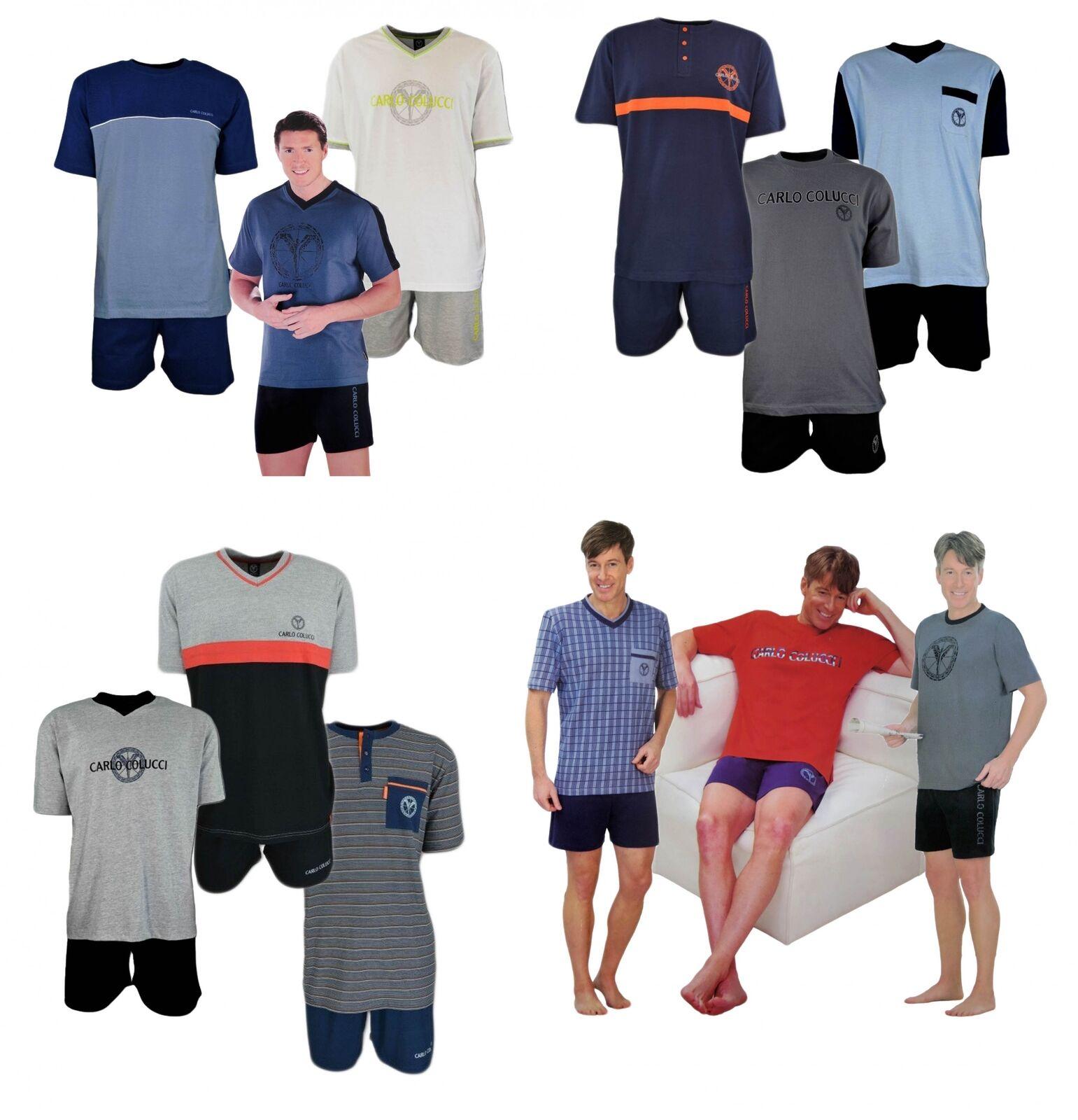 CARLO COLUCCI Herren Pyjama SHORTY Set Schlafanzug Pyjama kurz Nachtwäsche
