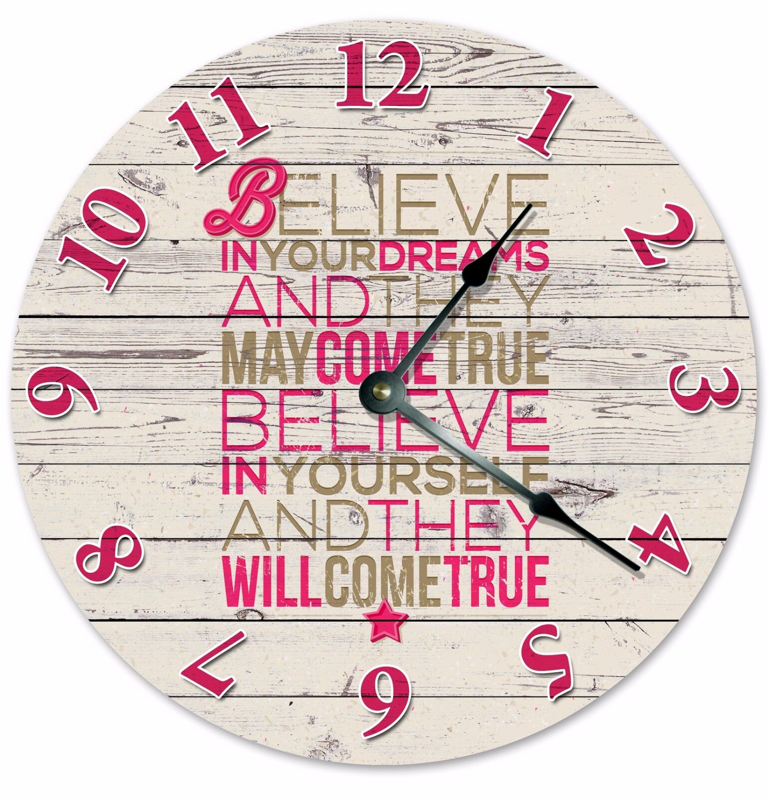 """BELIEVE IN YOURSELF And Dreams Clock - Large 10.5"""" Wall Clock - 2045"""