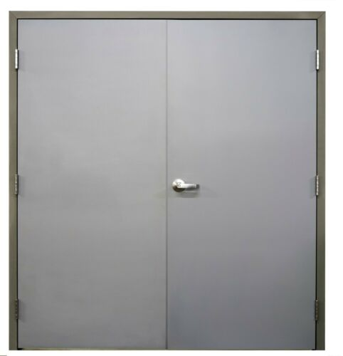 """BRAND NEW Commercial Steel 72"""" x 80"""" Double Doors w/Frame & Hinges, Lever, - REV"""