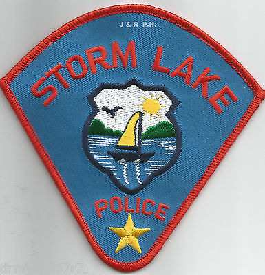 """Storm Lake, IA  (4.5"""" x 4.5"""" size)   shoulder police patch (fire)"""