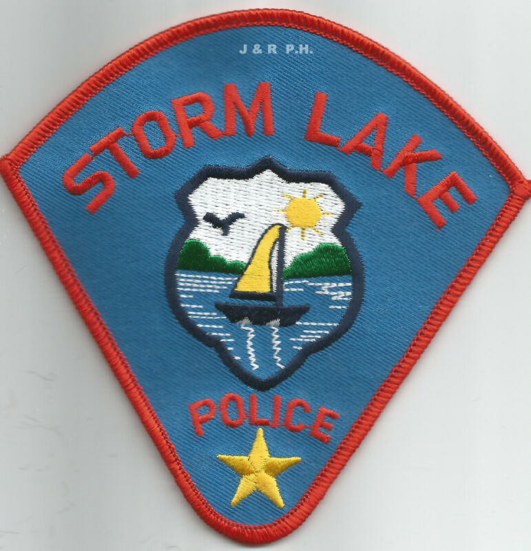 "Storm Lake, Iowa  (4.5"" x 4.5"" size)   shoulder police patch (fire)"