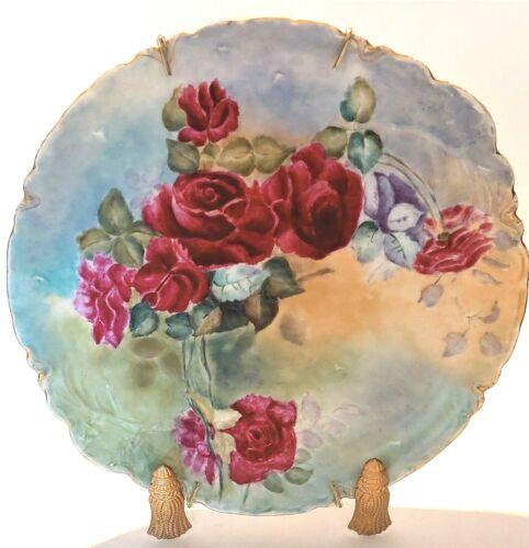 "large 12 1/2"" hand painted roses Haviland France porcelain plate signed Lockwood"